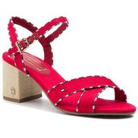 Tommy hilfiger Sandały - corporate detail heeled sandal fw0fw04230 tango red 611
