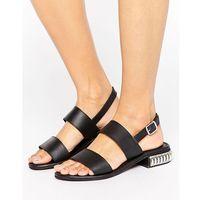 Park Lane Heel Trim Leather Sandal - Black