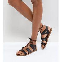 saffy black leather gladiator lace up sandals - black, Office