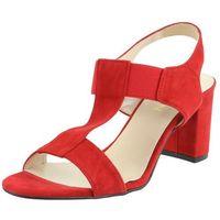 Sandały letnie czerwony słupek nubukowa/ zamszowa/ welurowa, Sagan