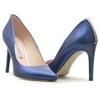 Czółenka Bravo Moda 1387 Granatowe perła, kolor niebieski
