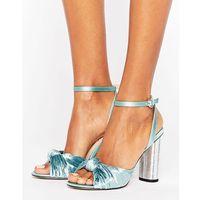 Office Velvet Heeled Sandals - Blue