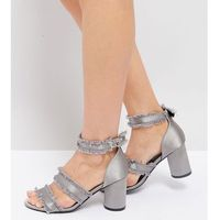 The March Grey Frayed Heeled Sandals - Grey