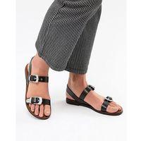 Pull&Bear western buckle sandal in black - Black