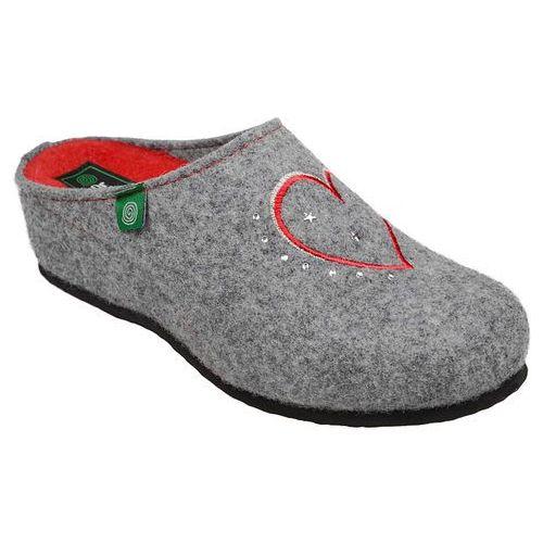 Kapcie 330149-9 popielate pantofle domowe ciapy zdrowotne - popielaty   szary   czerwony, Dr brinkmann