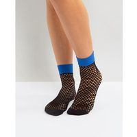 Jonathan Aston Flash Coloured Top Fishnet Ankle Socks in Electric Blue - Blue