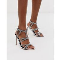 Asos design high maintenance strappy pointed heeled sandals in silver - silver