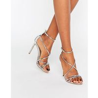 Office Spindle Silver Mirror Strappy Heeled Sandals - Silver