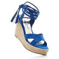 Sandały na koturnie bonprix lazurowy, kolor niebieski