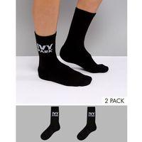 Ivy park logo crew socks 2pk in black - black