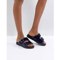 Carvela Krumble Shearling Sliders - Navy, kolor szary