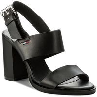 Sandały TOMMY HILFIGER - JEANS Cool Leather Heeled Sandal EN0EN00215 Black 990, kolor czarny