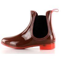 Buty obuwie damskie Kalosze z transparentym obcasem pt28 coral