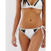 Calvin Klein tie side bikini bottoms in white with mesh insert - White, w 4 rozmiarach