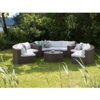 Beliani Meble ogrodowe jasnobrązowe rattanowe - półokrągła sofa + stół - severo