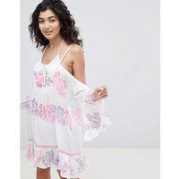 cold shoulder hibiscus floral print beach dress with tassel detail - multi marki South beach