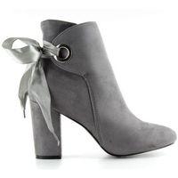 Buty obuwie damskie Botki szeroki obcas ze wstążką la01p grey