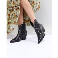 Jeffrey campbell leather black studded western ankle boots - blue