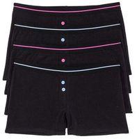 Bokserki damskie (4 pary) bonprix czarno-różowo-niebieski, kolor czarny