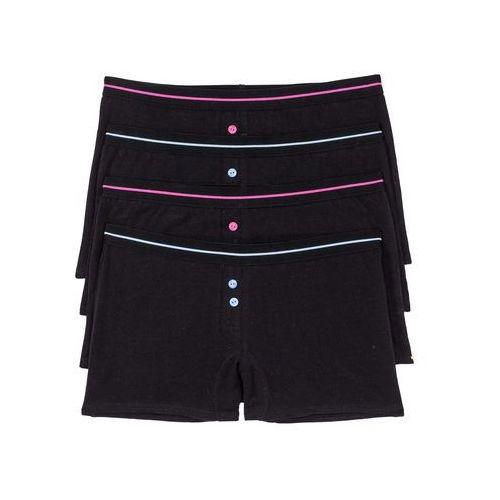 Bokserki damskie (4 pary) bonprix czarno-różowo-niebieski, w 2 rozmiarach
