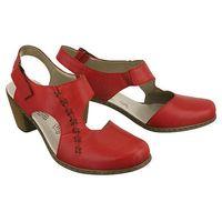 RIEKER 40950-33 red, czółenka letnie damskie