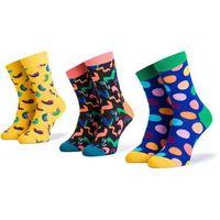 Happy socks Zestaw 3 par wysokich skarpet unisex - xbda08-2700 kolorowy