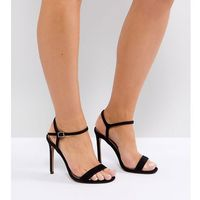 ASOS HANDS DOWN Wide Fit Barely There Heeled Sandals - Black, kolor czarny