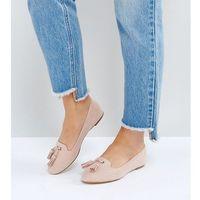 London rebel wide fit flat tassle slippers - beige