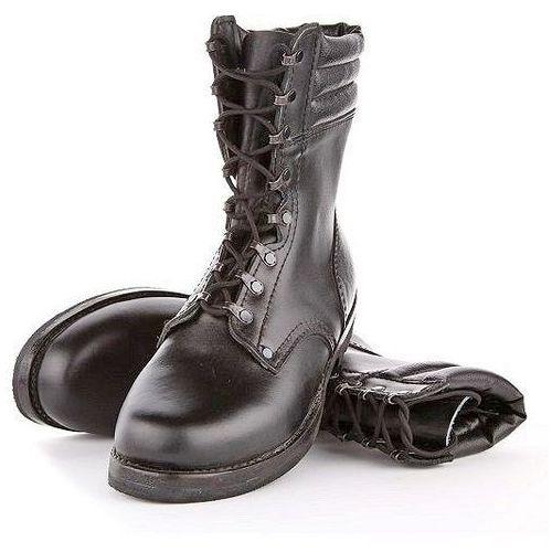 Trzewiki wojskowe skóra czarne Desanty 45, kolor czarny