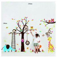 Naklejka dekoracyjna bajkowe drzewo sowy, małpki, żyrafa marki 4home