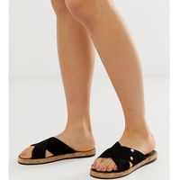 suede sandals with cross strap in black - black, River island