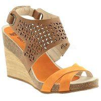 NIK sandały na koturnie 07-0168-002 beż/pomarańcz