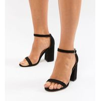London Rebel Wide Fit Block Heeled Sandals - Black, kolor czarny