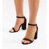 wide fit block heeled sandals - black, London rebel