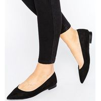 Asos lacey wide fit pointed ballet flats - black