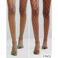 2 pack oversized fishnet tights in black and green - multi, Asos