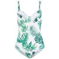 Kostium kąpielowy minimizer na fiszbinach zielony z nadrukiem, Bonprix