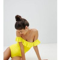 Monki Off Shoulder Swimsuit - Yellow, kolor żółty