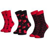 Zestaw 3 par wysokich skarpet unisex - xlov08-4300 czarny czerwony marki Happy socks
