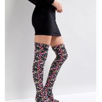 River Island Over The Knee Floral Print Heeled Boots - Multi