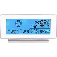 Bezprzewodowa stacja pogody z podświetleniem, pomiarem wilgotności, zegarem i budzikiem - biała