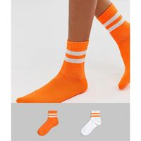 2 pack neon colourblock and stripe socks - multi, Asos design