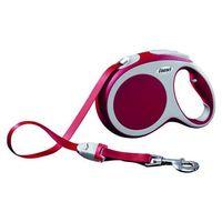 FLEXI Smycz automatyczna VARIO - taśma kolor: czerwony S 5m - do 15kg (4000498019917)