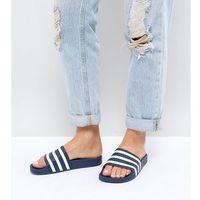 Adidas originals adilette slider sandals in navy and white - navy