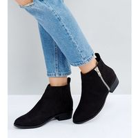 Truffle collection wide fit side zip low boots - black