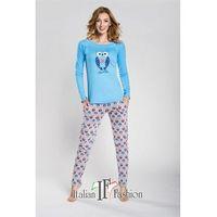 If piżama damska lezly długi rękaw niebieski, Italian fashion