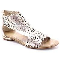 Tymoteo 2699 miedź - płaskie sandały ażurowe - różowy   złoty