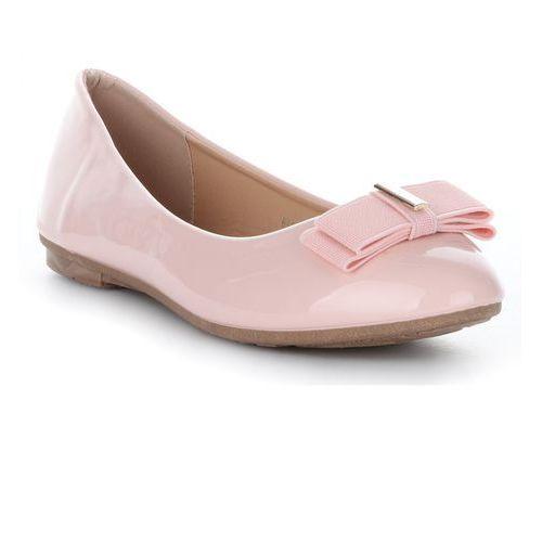 Klasyczne i Eleganckie Balerinki Damskie Bellucci Lakierowane z kokardką Różowe, kolor różowy