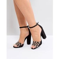 RAID Elena Black Studded Block Heeled Sandal - Black, kolor czarny