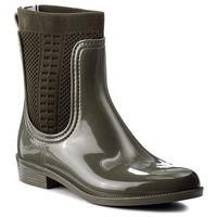 Kalosze TOMMY HILFIGER - Tommy Knit Rain Boot FW0FW02940 Dusty Olive 011, kolor zielony
